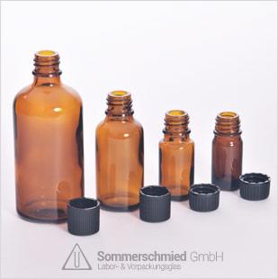 Glasflaschen, Apothekerflaschen, EHV - Flasche, Gewindeflasche, GL 18 Schraubkappe, Pipetten, Verschlüsse mit Tropfer, Schraubkappe mit Kindersicherung