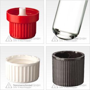 Gewindegläser, Glasflaschen, Gewinde in Glas, Schraubkappen, Schraubkappen mit Septum